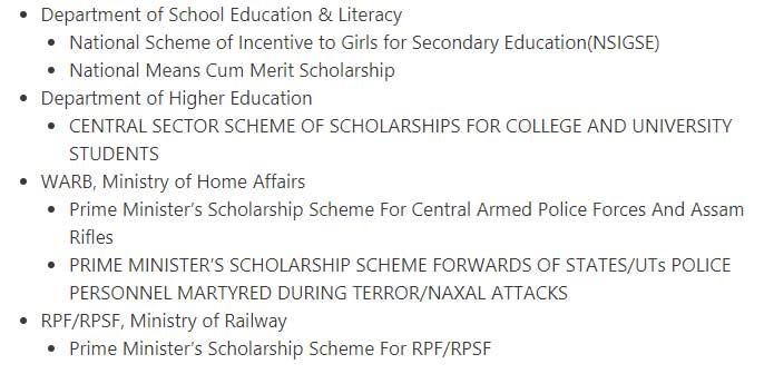 Schemes of National Scholarship Portal (NSP) 2020