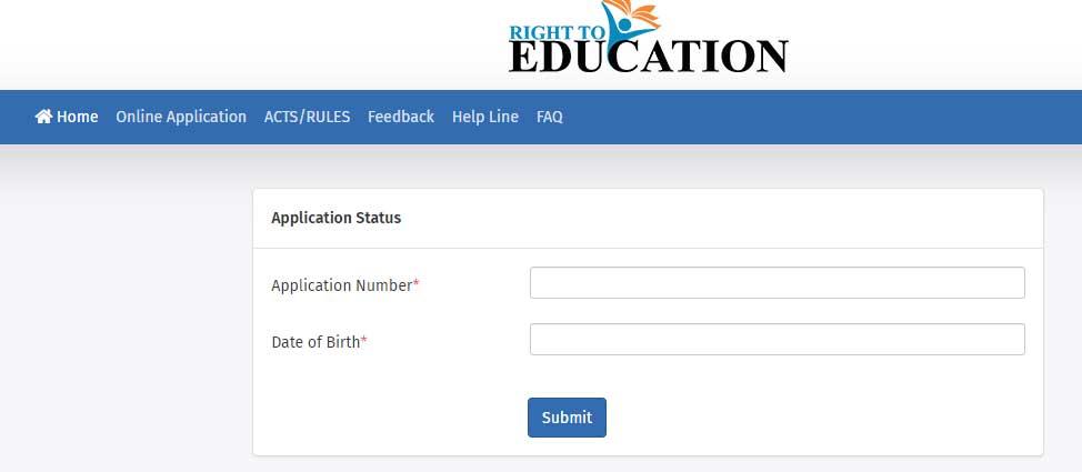 RTE Gujarat Application Status