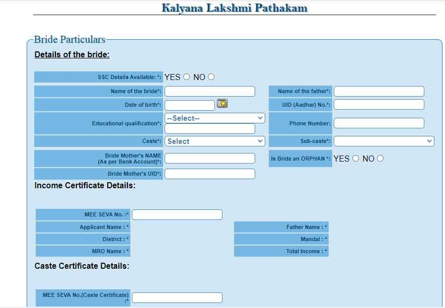 Telangana Kalyana Lakshmi yojana