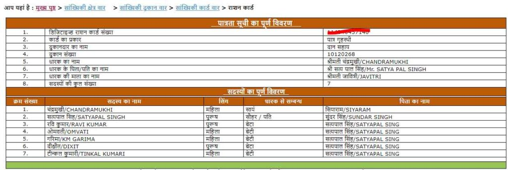 ration card up family members
