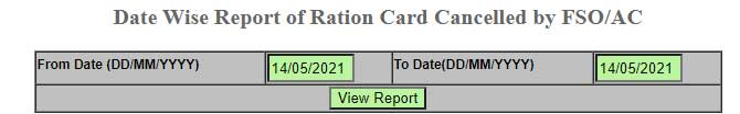 Date Wise Report of Ration Card Cancelled by FSO/AC