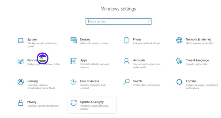 Windows 10 Settings page Updates & Security